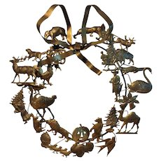 Vintage Petite Choses Brass Holiday Dresden Wreath ~  Easter ~ Halloween ~ Christmas ~ Thanksgiving ~ Animals