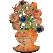 1930's Cast Iron Doorstop Hubley Petunias And Asters Flower Basket