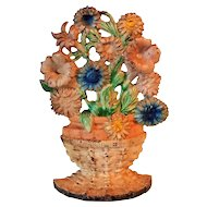 1930's Cast Iron Doorstop Hubley Petunias And Asters Flower Basket