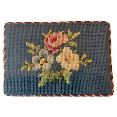 Vintage Needlepoint Doorstop Blue Floral Wedge