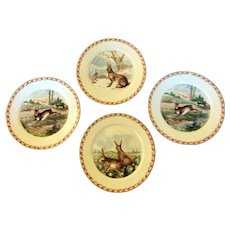 Vintage Four German Transfer Ware Rabbit Plates Lovely Display For Easter And Everyday