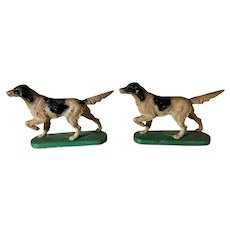 Vintage 1930s Hubley Cast Iron Full-Figured Bookends  Pointing English Setter Dogs # 363