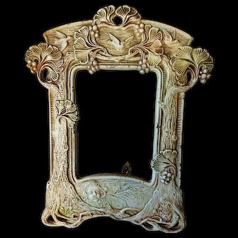 Antique American Figural Cast Iron Picture Frame In Original Paint