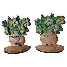 Vintage 1930s Cast Iron Pink Flower Vase Blue Flowers Bookends