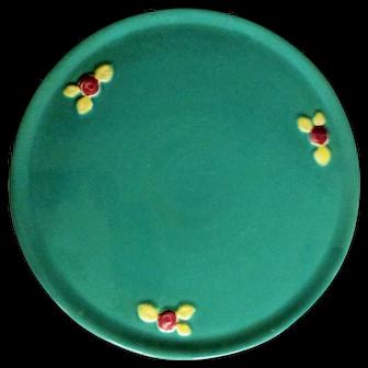 Vintage Coors Rosebud Pottery Green Cake Platter