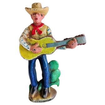 """Vintage 1930's Cast Iron Bottle Opener """"Guitar Playing Cowboy"""""""