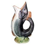 "1880""s English Majolica Gurgling Fish Pitcher"