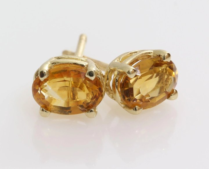 Imperial Topaz Stud Earrings 14k Yellow Gold Vintage Israel Orange