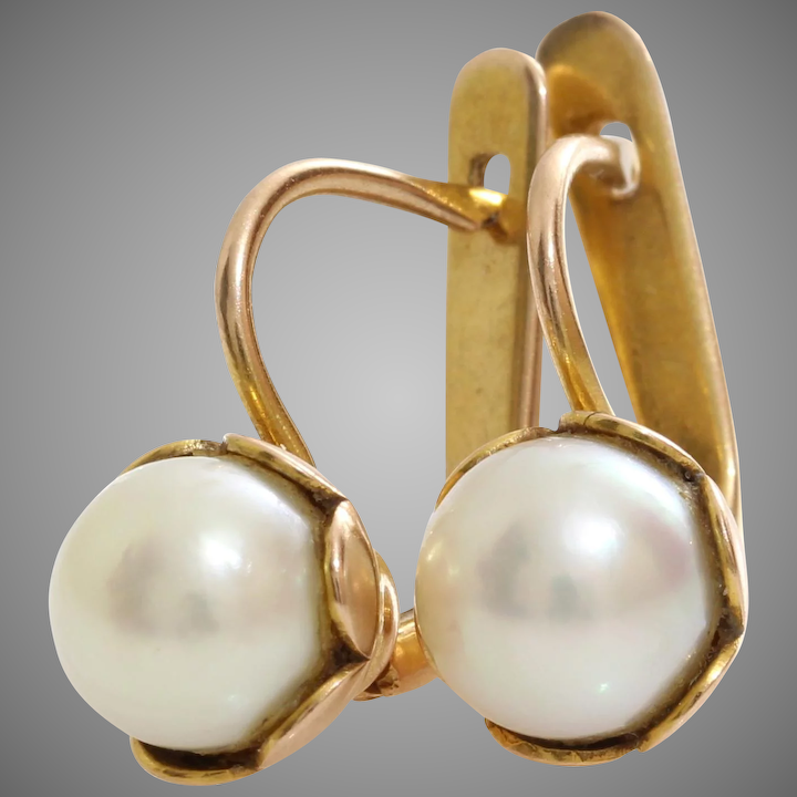 Russian White Pearl Earrings 14k Yellow Gold Vintage Cultured