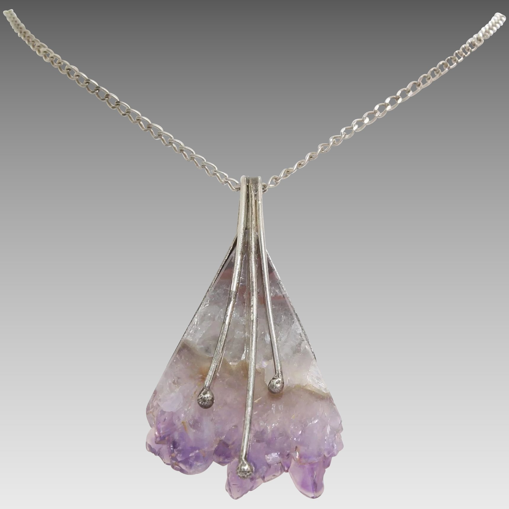 amethyst raw mineral products jewelry necklace il electroformed crystal pendant fullxfull