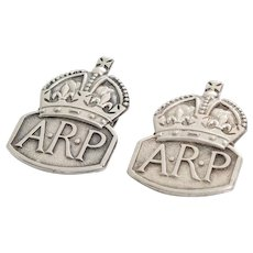 ARP Lapel Badge | Sterling Silver Mens | WWII Vintage England Military