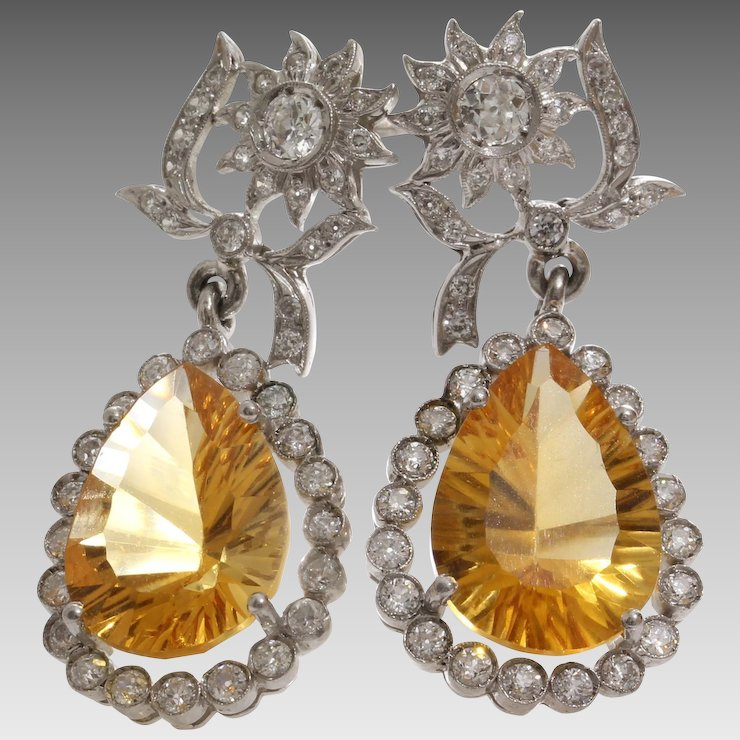 Edwardian Imperial Topaz Earrings Platinum Diamond Antique Drop