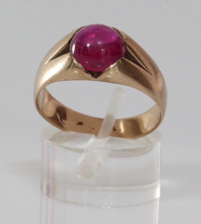 Ideal Mens Cabochon Ruby Ring | 14K Yellow Gold | Vintage Retro Gents  IC24