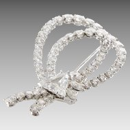 Diamond Bow Brooch | 18K White Gold | Vintage Clip Pin Triangle Round