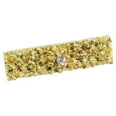 Diamond Gold Tie Clip | 18K Yellow Vintage | Liberia Africa Mens Retro