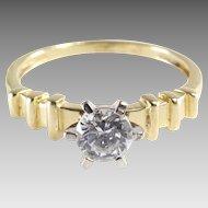 Cubic Zirconia Engagement Ring | 14K Yellow Gold | Vintage Bicolor cz
