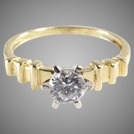 Cubic Zirconia Engagement Ring | 14K Yellow Gold | Vintage Bicolor cz