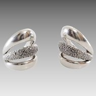 Argent Cuff Earrings   Sterling Silver Vintage   Non Pierced Lost Wax