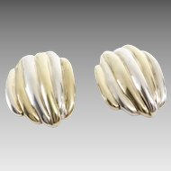 Argent Clip On Earrings   Two Tone Sterling Silver   Vintage Lost Wax