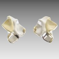 Argent Clip On Earrings   Bicolor Sterling Silver   Vintage Lost Wax
