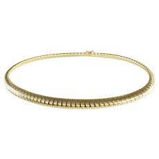 Gold Choker Necklace | 14K Yellow Omega | Vintage Italy Symmetrical