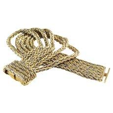 Four Row Bracelet | 18K Gold Bicolor Braided | Switzerland Vintage