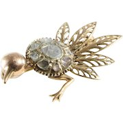 Victorian Ostrich Brooch | 14K Yellow Gold Diamond | Antique Bird Pin