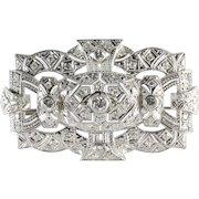 Edwardian Diamond Platinum Brooch | French Art Nouveau | Antique Pin