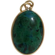 Eilat Stone Pendant | 14K Yellow Gold | Vintage Israel Jewelry Oval