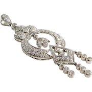 Edwardian Diamond Pendant | Platinum Old European Cut | Antique Drop