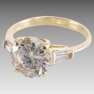 Cubic Zirconia Engagement Ring | 14K Gold Brilliant | Vintage Cocktail