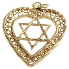 Magen David Heart Pendant   18K Yellow Gold   Star Charm Vintage