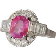 Art Deco Pink Sapphire Ring | Diamond Platinum | Vintage Untreated