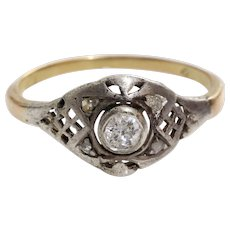 Victorian Diamond Engagement Ring   14K Gold Silver   Antique Russian