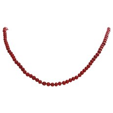 Oxblood Coral Necklace | 14K Yellow Gold | Vintage Bead Red Round