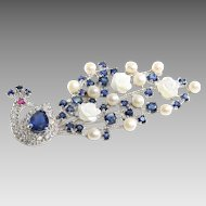 Peacock Sapphire Brooch   Sterling Silver Ruby Pearl   Vintage Culture