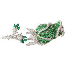 Emerald Diamond Flower Brooch   18K Bicolor Gold   Vintage Rose Pin