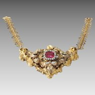 Victorian Pink Sapphire Necklace | Yellow Gold Pearl | Antique Ruby