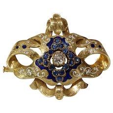 Victorian Sapphire Diamond Brooch   18K Gold Enamel   Biedermeier