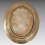 Victorian Cameo Brooch Pendant | 14K Yellow Gold Shell | Antique Pin