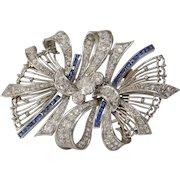 Art Deco Brooch Pendant   Diamond Sapphire Platinum   Vintage 18K Pin
