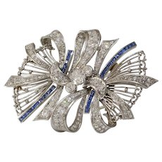 Art Deco Brooch Pendant | Diamond Sapphire Platinum | Vintage 18K Pin