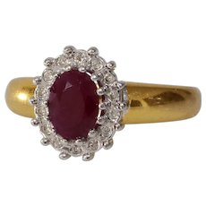 Ruby Diamond Engagement Ring   8K Bicolor Gold   Vintage Cocktail Oval
