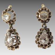 Georgian Diamond Drop Earrings | 9K Yellow Gold | Antique Rose Cut