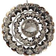 Georgian Diamond Pendant | 14K Yellow Gold Silver | Antique Rose