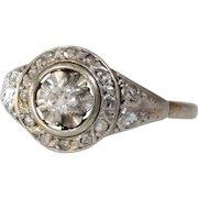 Art Deco Diamond Engagement Ring   18K White Gold   Vintage French