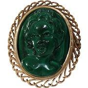 Art Deco Cameo Brooch Pendant   Malachite 14K Gold   Vintage Pin Women