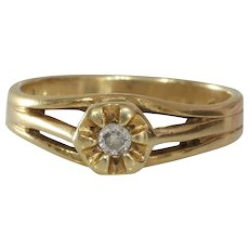 Art Deco Diamond Ring | 14K Yellow Gold | Vintage Engagement Solitaire
