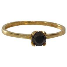 Black Diamond Engagement Ring | Gilt Sterling Silver | Vintage Israel