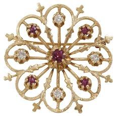 Retro Ruby Diamond Brooch | 14K 10K Yellow Gold | Vintage Round Pin USA